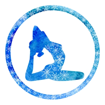 Vector silhouette of yoga woman in circle frame with bright blue watercolor texture and snowy ornament. Winter colors and snowflakes decoration.