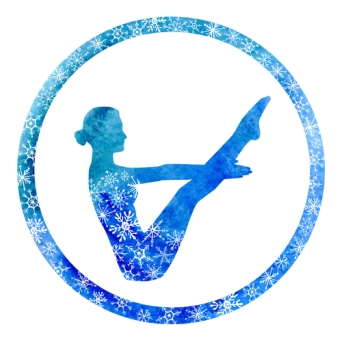 Vector yoga illustration with female silhouette in circle frame with snowy ornament. Winter bright blue colors, watercolor texture and decorative snowflakes. Boat pose - Navasana.
